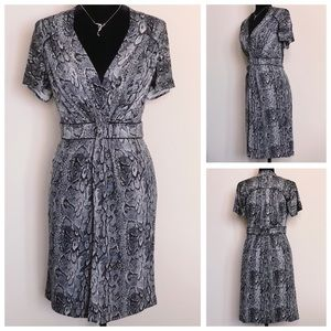BCBGMaxAzria Snake Print Dress With Front Twist